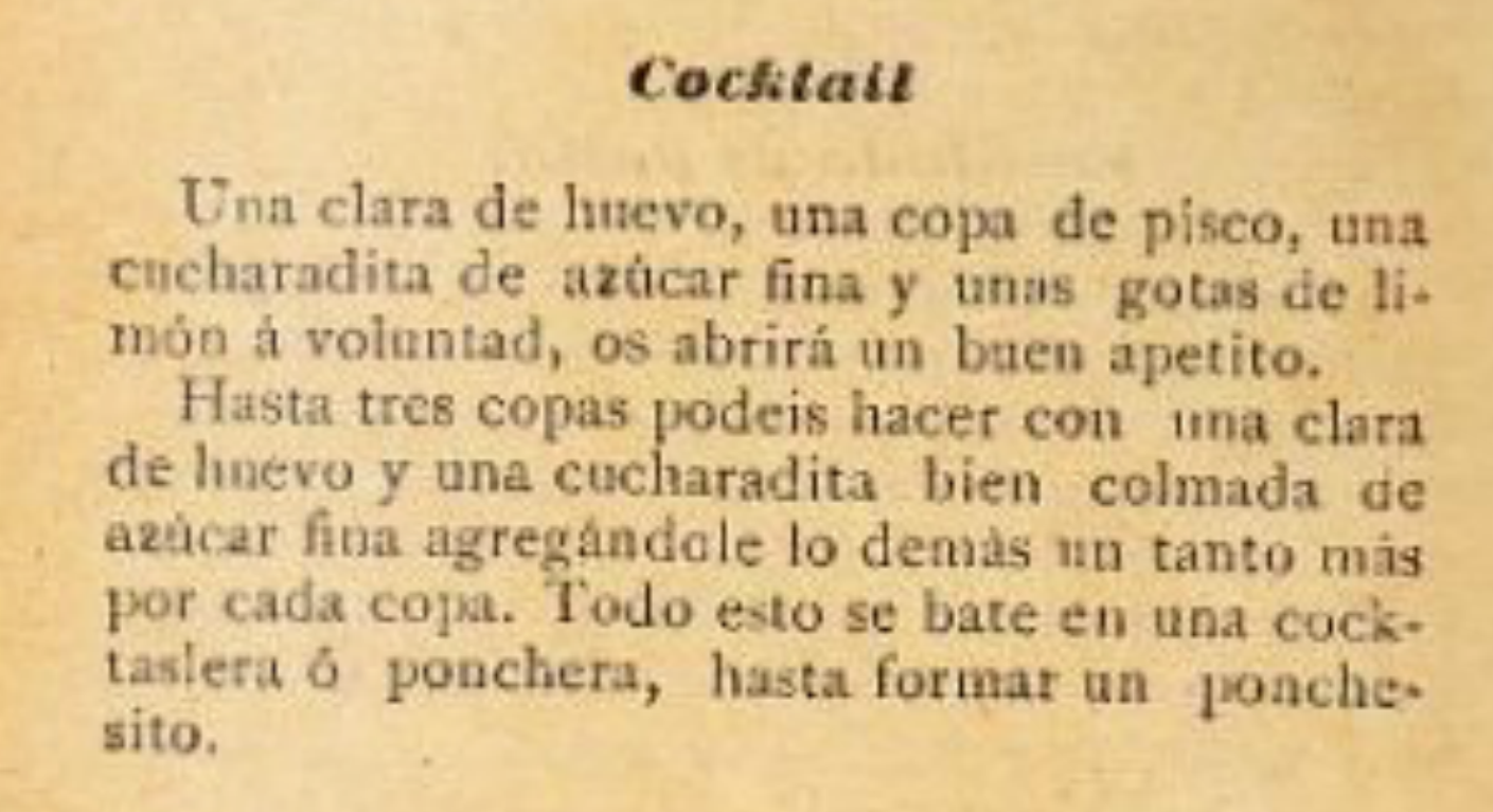 Pisco Sour from 1903